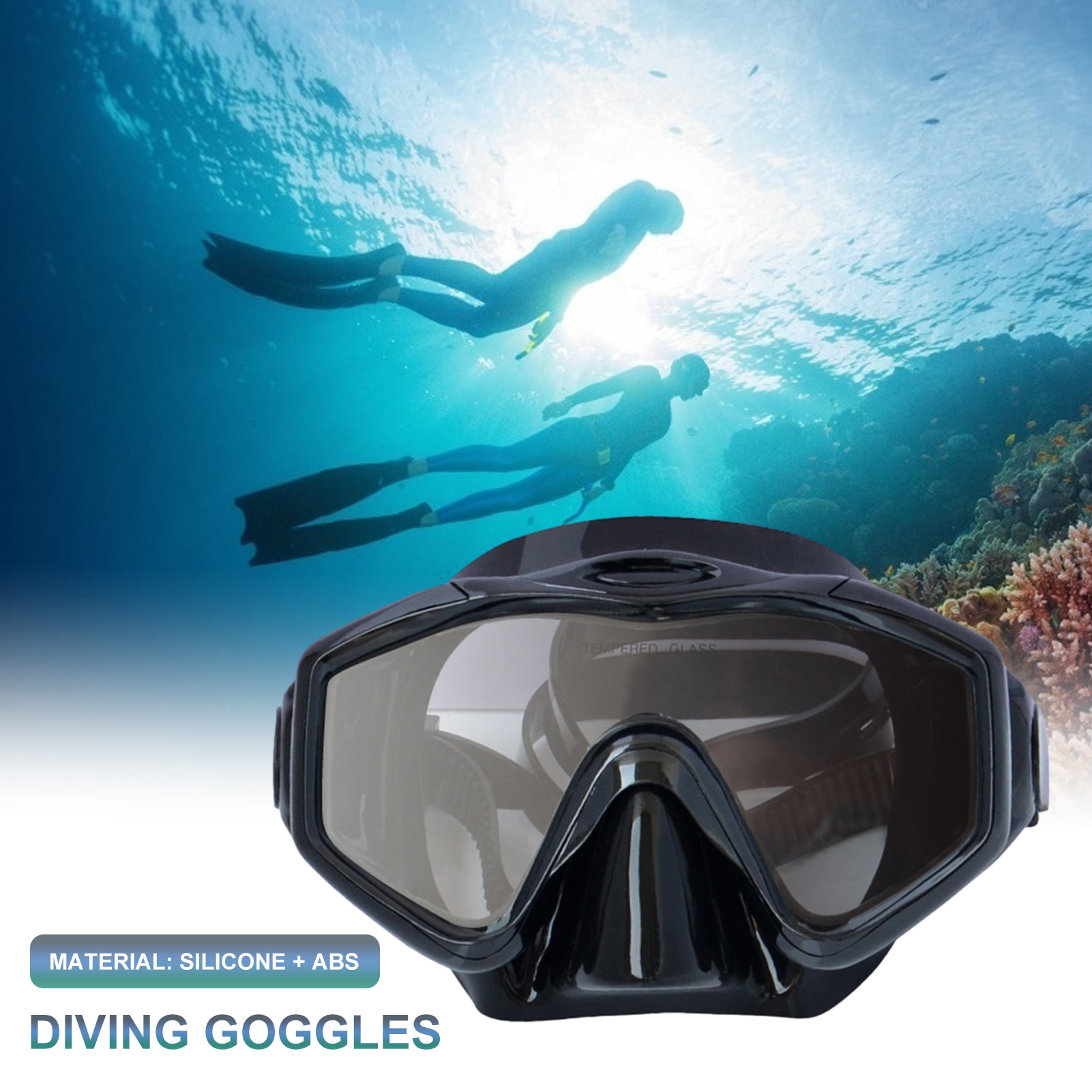 Adult snorkeling 3D diving goggles silicone + ABS portable adjustable wide-angle swimming underwater life-saving diving goggles