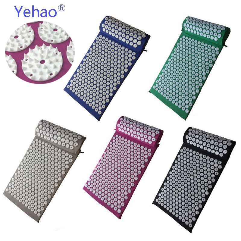 Yoga Massage Cushion Acupressure Mat and Pillow Suit For Body Massager Shakti Pad Spike Mat For Neck Back And Foot Head Massage