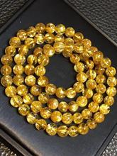 Natural brasil ouro rutilated titânio pulseira de quartzo 6.5mm mulher homem rico pedra claro contas redondas cristal certificado aaaaa