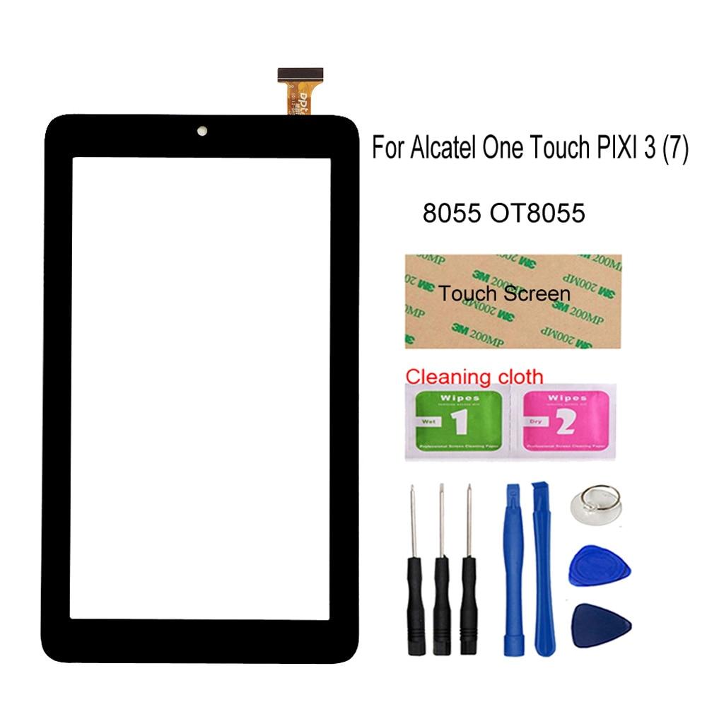Pantalla de tableta PC de 7,0 pulgadas para Alcatel One Touch PIXI 3 (7) 8055 OT8055, Sensor de Digitalizador de pantalla táctil, Panel exterior de lente de vidrio