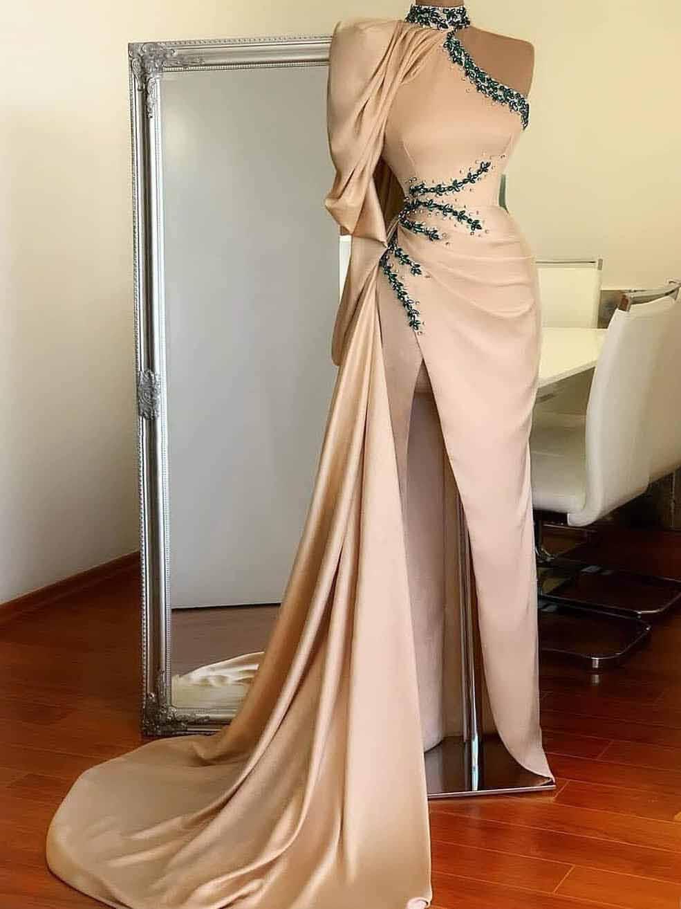 Fashion High Collar Beaded Ceystals Sheath High Slit Prom Dresses