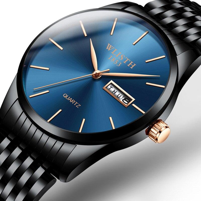 Mens Watches Brand Luxury Week Date Display Steel & Leather Strip Men Watch Wristwatch Mens Thin Men's Gift relogio masculino
