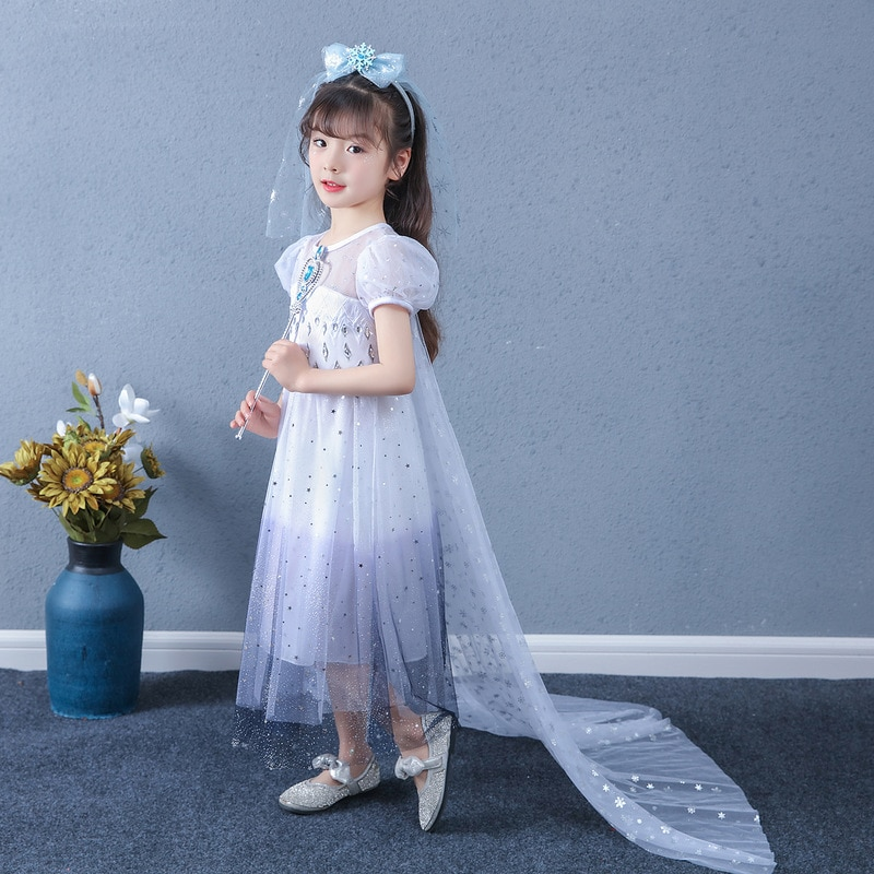 Child Girl Frozen 2 White Elsa Anime Cartoon Princess Dress Birthday Gift Starry Sky Dress for Halloween Cosplay Costume