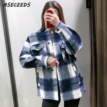 2019 automne hauts et chemisiers vintage chemise à carreaux femmes à manches longues blouse streetwear mode coréenne grande taille femmes chemises kawaii