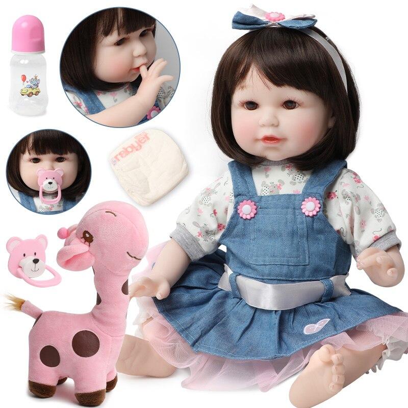Muñeca realista de bebé Reborn de 56cm de silicona suave de 22 pulgadas con pelo encantador y realista para niña, juguete de cumpleaños para niños