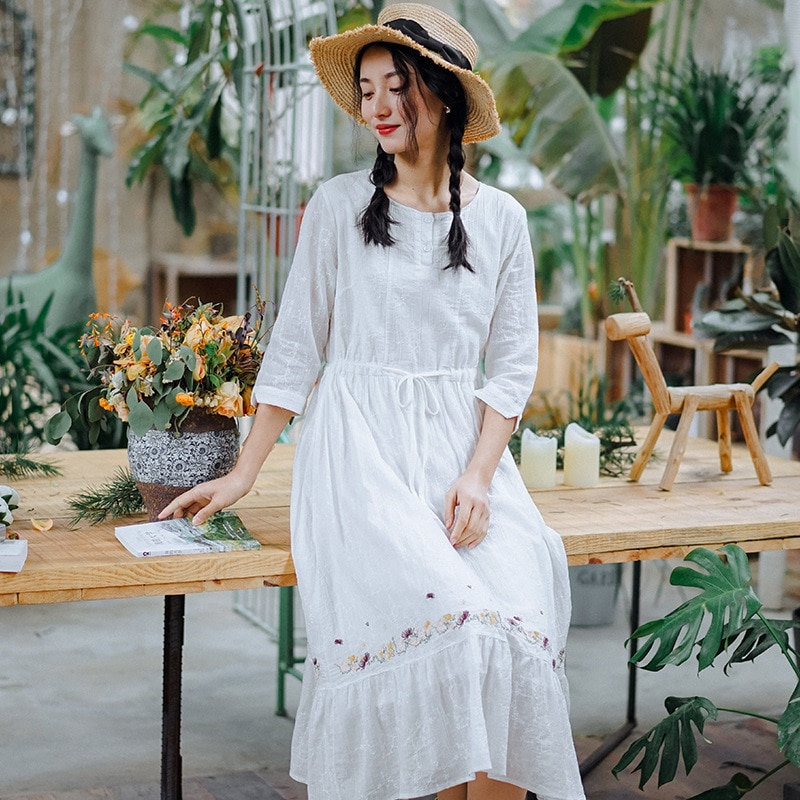 Nini Wonderland vestidos de mujer primavera 2020 algodón blanco vestido femenino verano bordado elegante vestido señoras ropa de cintura alta