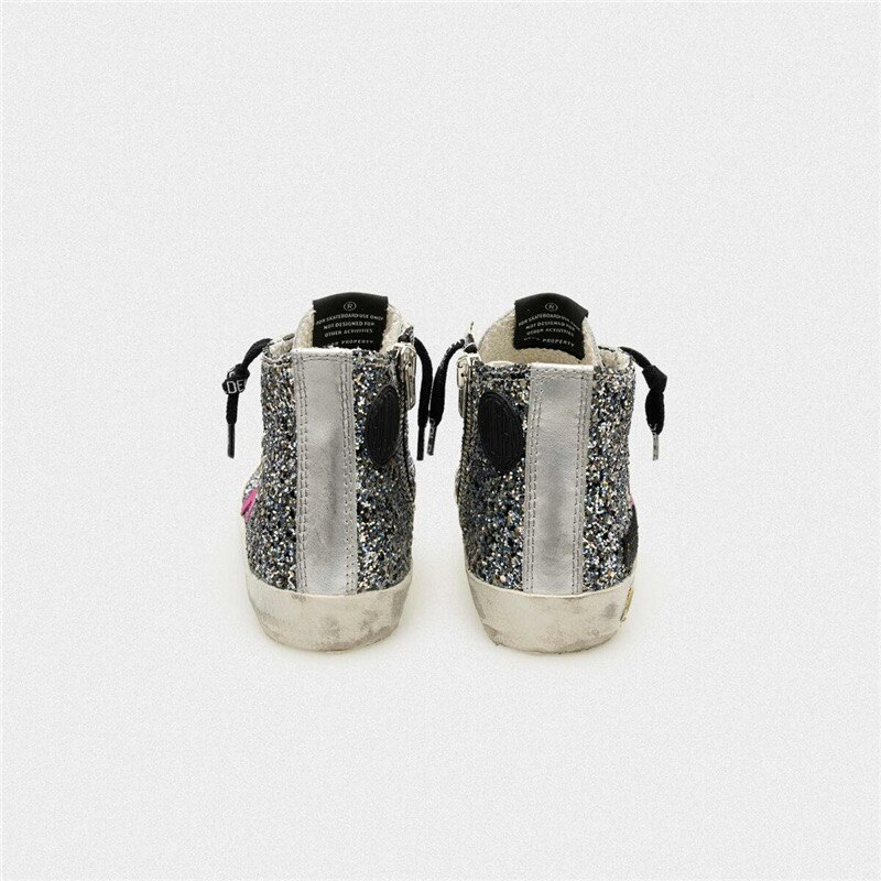 Children's Spring and Summer Sequined Old Small Dirty Shoes for Boys and Girls Casual Silver Patent Leather Kids Sneakers CS197 enlarge