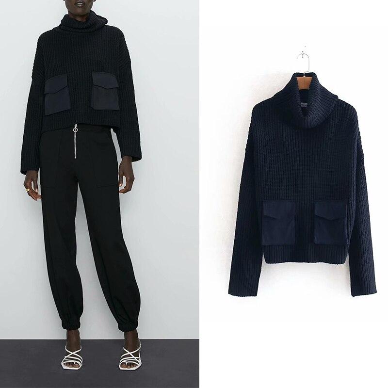 Za 2019 moda mujer vintage cuello de tortuga bolsillos parche suelto suéter señoras básica punto jerseys otoño chic tapas