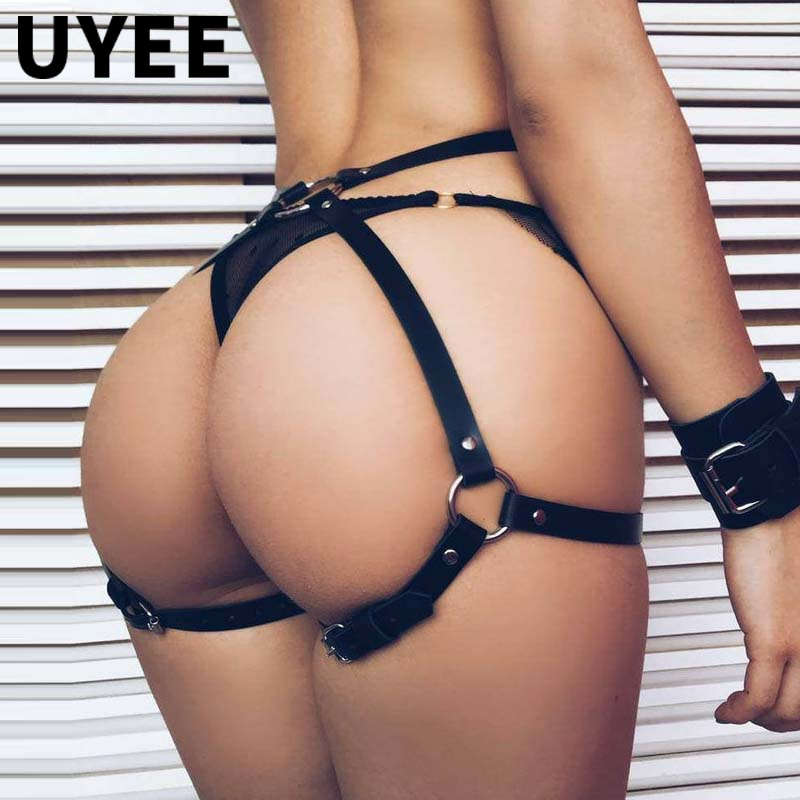 UYEE Bondage Harness Woman Garter Stocking Belt Gothic Body  Lingerie Seks Leather Waist To Leg Harness Thigh Garters Belt