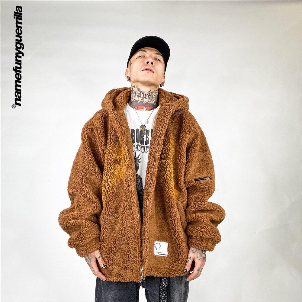 Namefunyguerrilla Letter polar fleece padded clothes Retro Parkas Streetwear japanese fashion plus size jackets for men NB2097