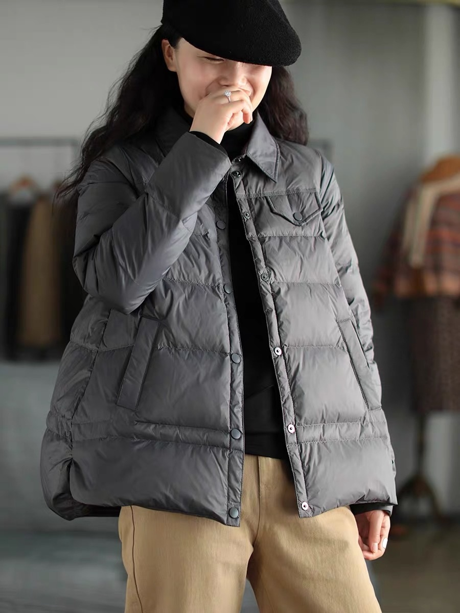 2020 Winter light and thin Ladies Down jacket literary retro Loose 90% white duck down Down jacket Female lapel warm Down jacket
