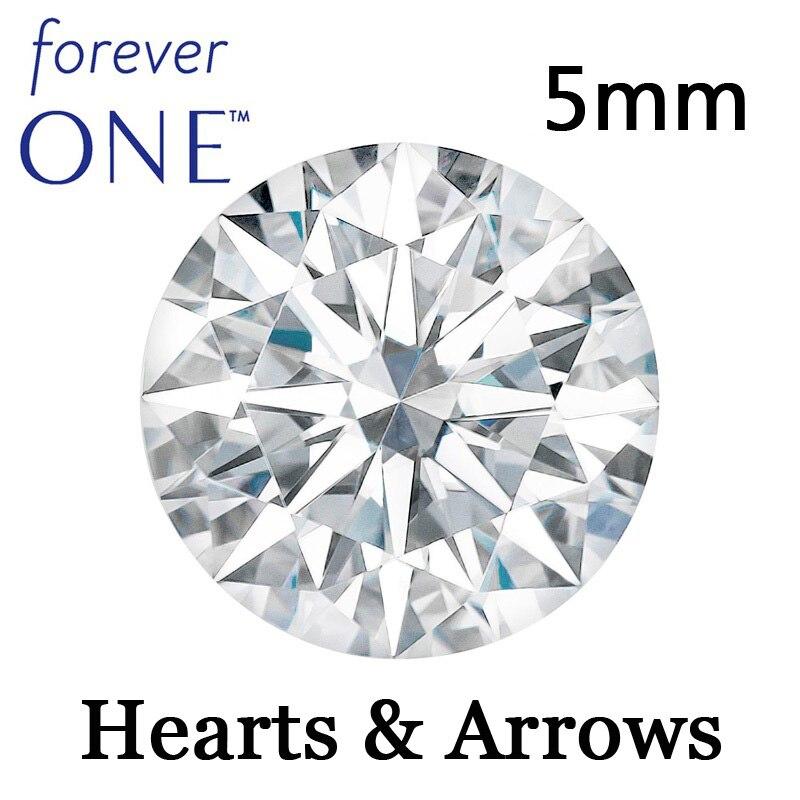 Certificado por el Sr. Colvard redondo brillante corazones y flechas corte perfecto 5mm efecto 0,5ct VS D E F Forever una piedra preciosa de molissanita