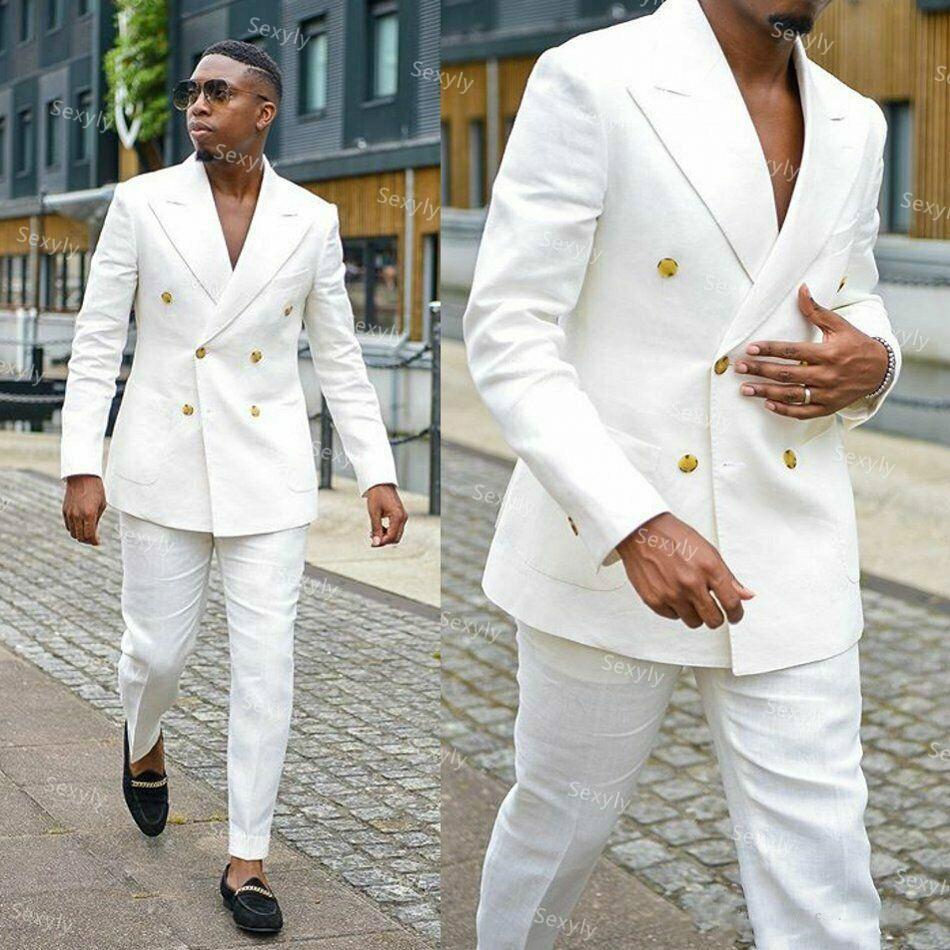 وسيم الأبيض مزدوجة الصدر الدعاوى للرجال ملابس حفل زفاف السترة قطعتين الأعمال رجل الزي الرسمي الكلاسيكية الذكور دعوى