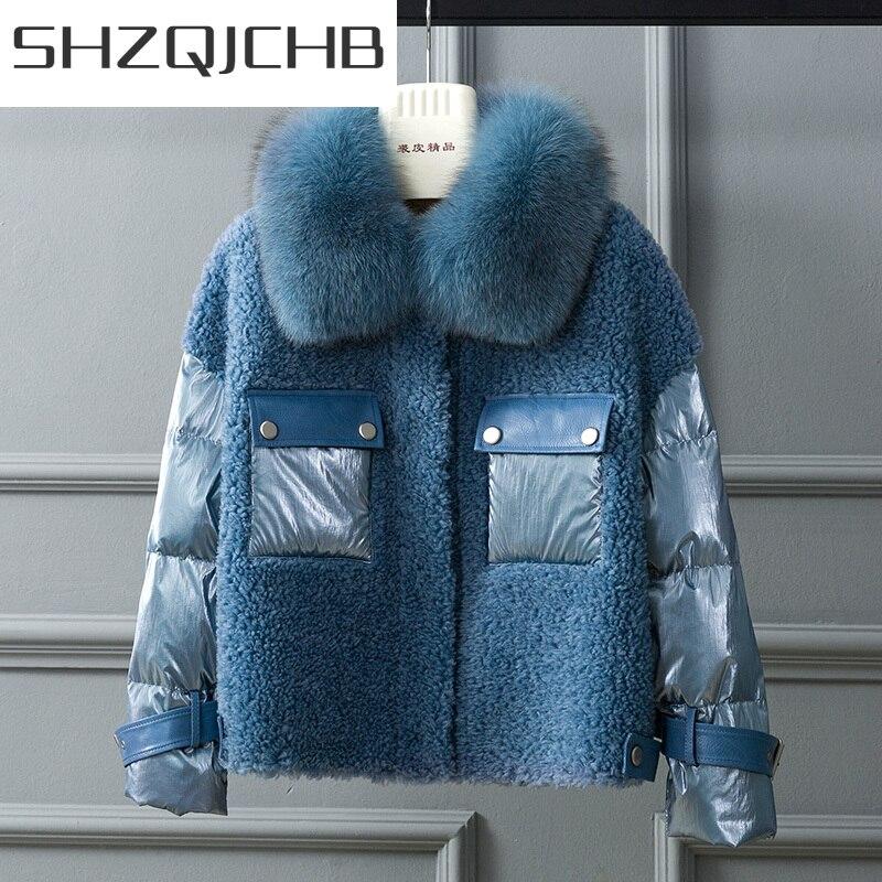 SHZQ معطف الفرو الحقيقي الإناث الثعلب الفراء طوق الأغنام القص بطة سترة نسائية ثقيلة الشتاء الوردي معطف الكورية خمر كرات الصوف 2039