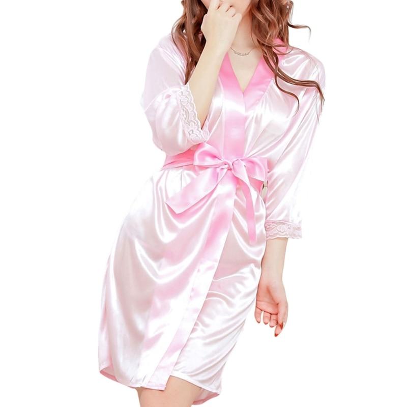 Bata de baño con cuello en V estilo Kimono corto para mujer