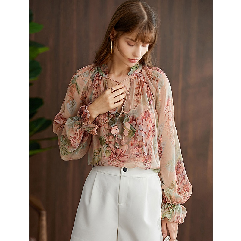 Blouse Women Elegant Style 100% Silk Printed Lace-up O Neck Long Lantern Sleeve High Quality Loose Casual Top New Fashion