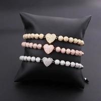 high quality women bracelet luxury cz ball heart charm macrame hip hop bracelet men women