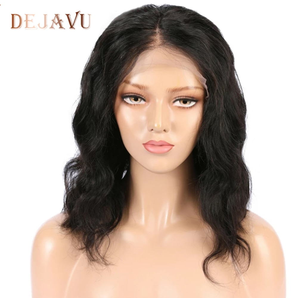 Dejavu Lace Front Human Hair Wigs13*4 Body Wave Wig Non-Remy Brazilian Human Hair Wigs Short Bob Lace Front Wigs For Black Woman