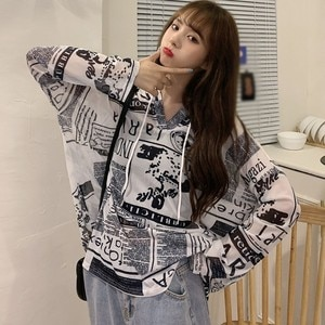 Summer Korean Style Graffiti Tshirt Hooded Long Sleeve Ladies Hip Hop Streetwear Casual Tee Shirt Tops Light Long sleeve