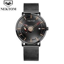NEKTOM Business Mens Watches+Box Top Brand Luxury Quartz Watch For Men Waterproof Clock Wristwatch R