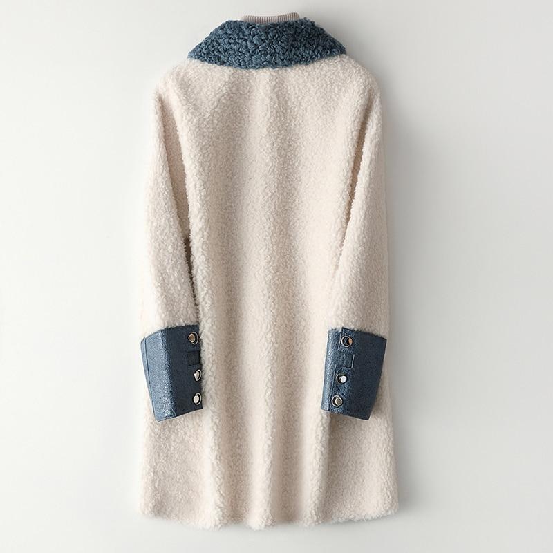 100% Mujer chaqueta de piel y lana Real otoño Abrigo de invierno...