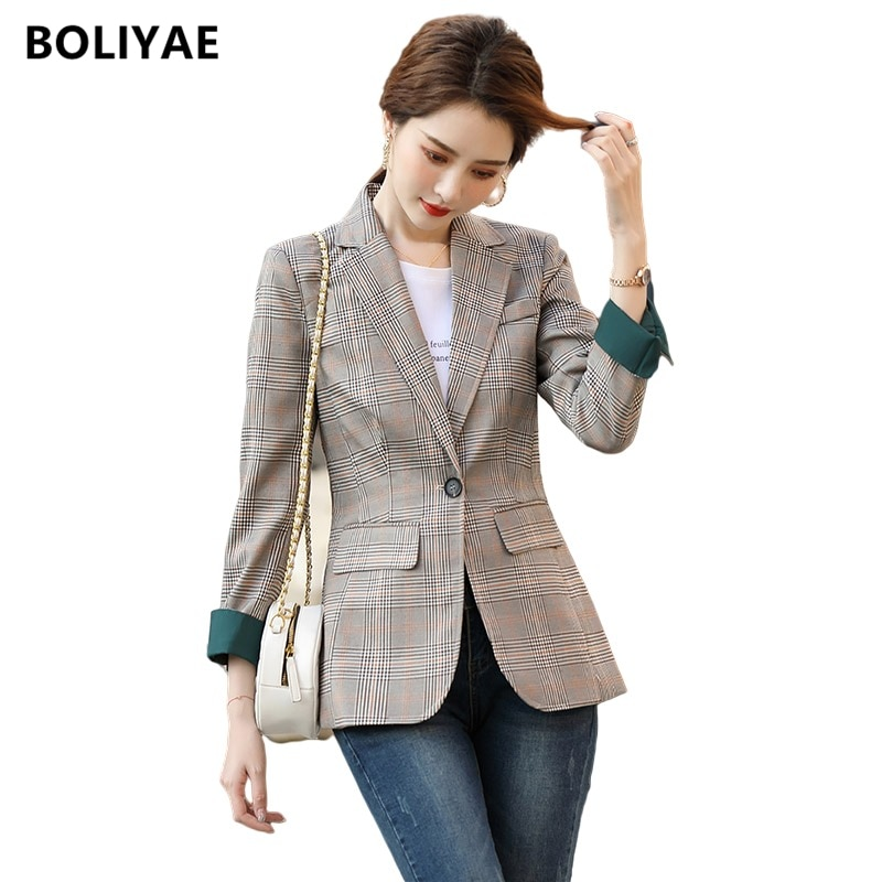 Boliyae 2021 Fashion Business Plaid Suits Women Office Ladies Long Sleeve Spring and Autumn Casual B