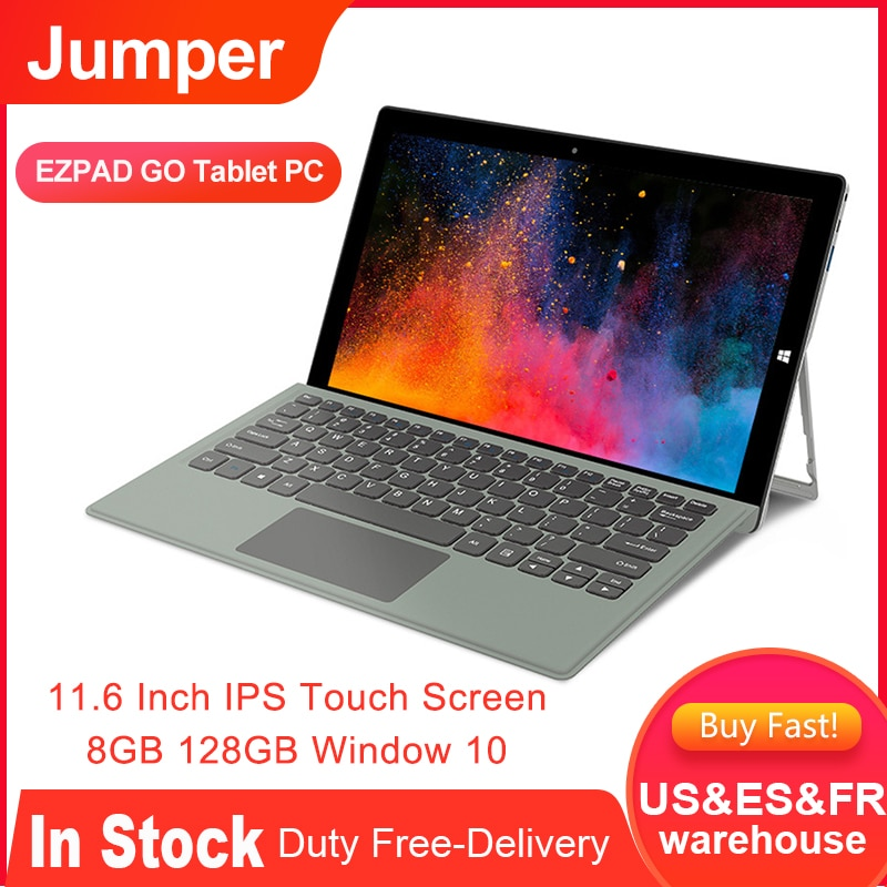 JUMPER EZPAD GO 2 in 1 Tablet 11.6 Inch IPS Touch Screen 8GB 128GB Window 10 Tablet PC with Keyboard Pen for Office Home