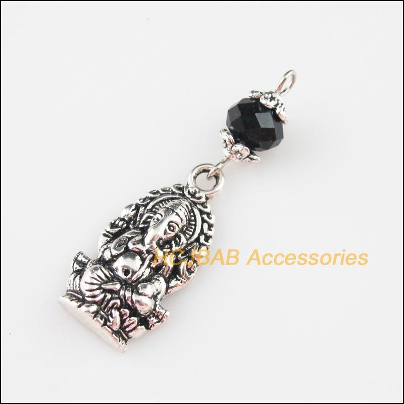 5New perlas de cristal negro elefantes estatua encantos colgantes tibetano Color plata