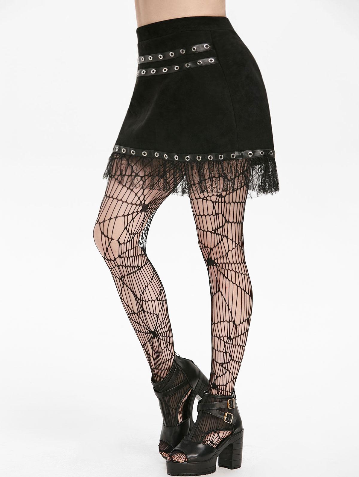 Wipalo Women Gothic Skirt Sexy Women Autumn PU Insert A Line Mini Skirts Zipper Solid Faux Suede Skirt Club Wear Goth 2019