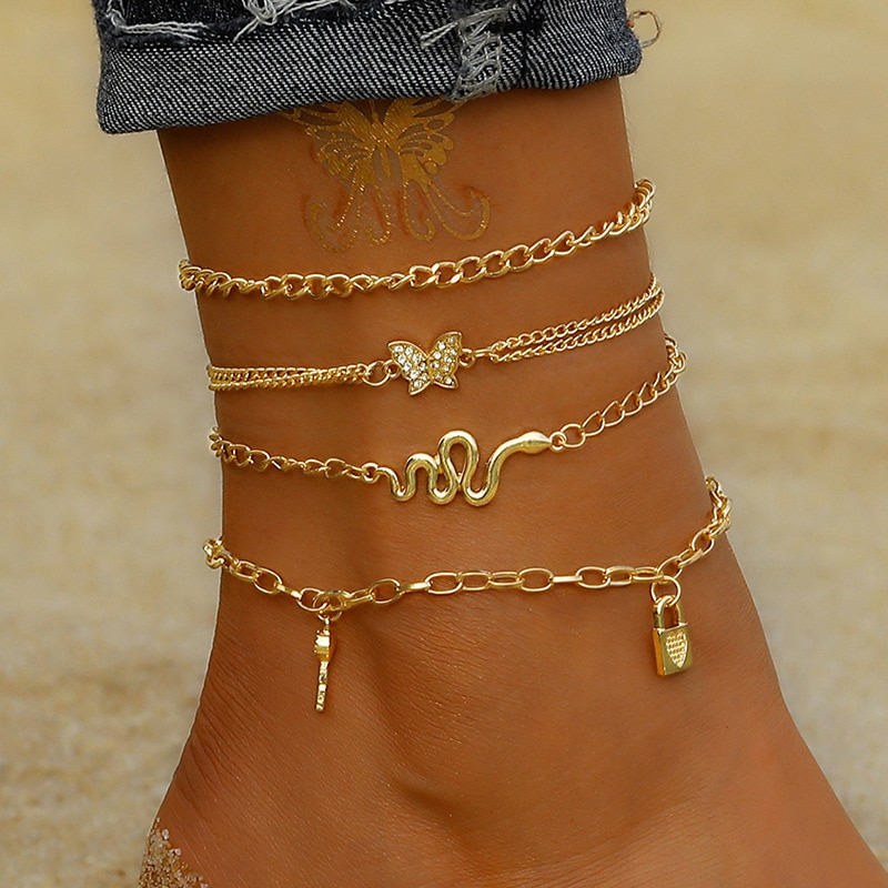 Punk Multilayered Lock Snake Chain Anklet For Women 2021 Trend Gold Butterfly Shell Anklets Foot Bracelet Beach Jewelry
