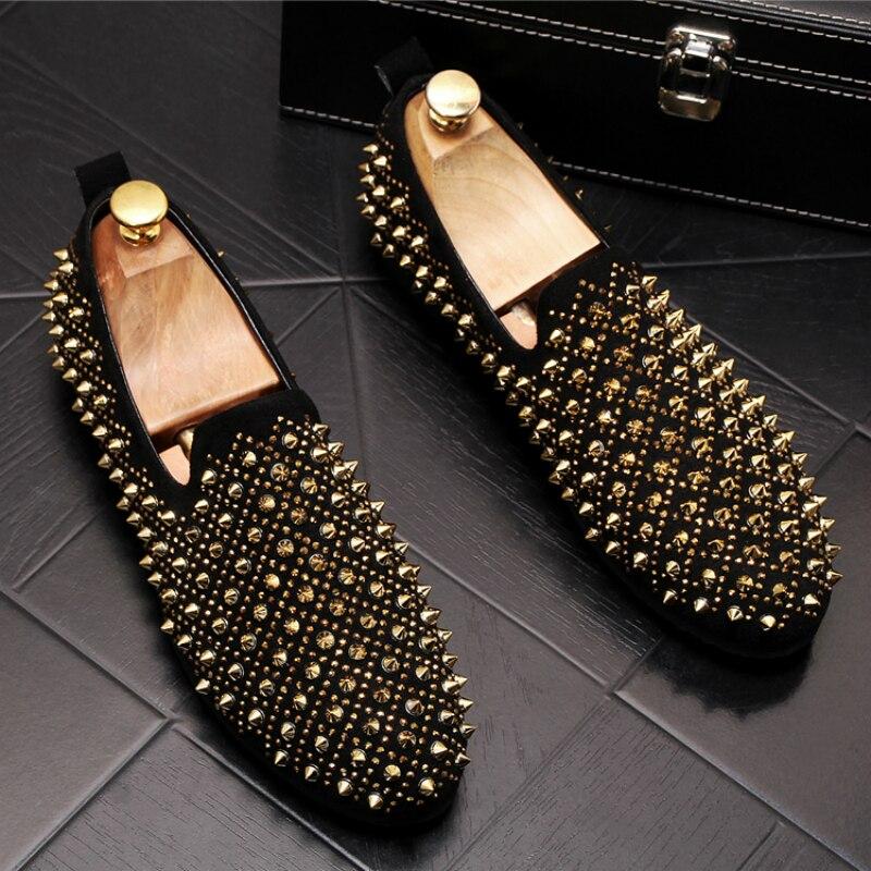 Estilo coreano dos homens sapatos de designer de moda de luxo sapatos de couro genuíno deslizamento em rebites sapato respirável mocassins zapatos de hombre
