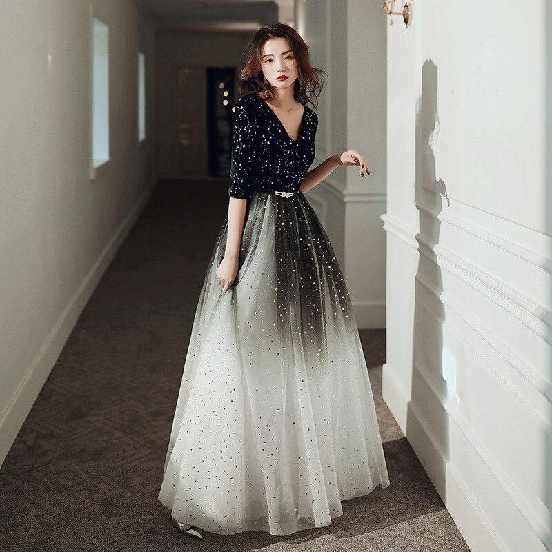 فستان سهرة طويل أنيق من التول ، خط a ، ياقة على شكل V ، نصف كم ، فستان سهرة رسمي بحزام ، صورة حقيقية ، AE9917
