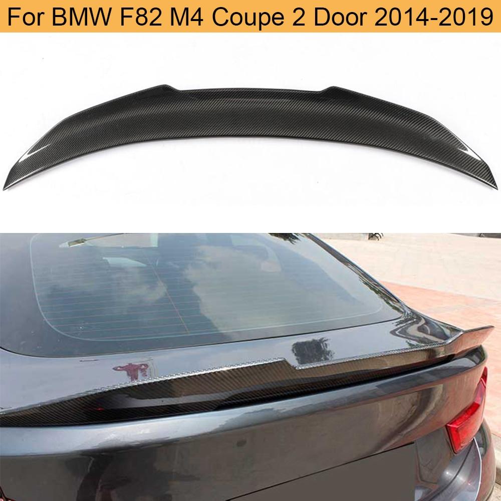 Para f82 m4 fibra de carbono spoiler traseiro do carro para bmw f82 m4 coupe 2 door 2014 - 2019 tronco traseiro boot lábio asa spoiler etiqueta do carro