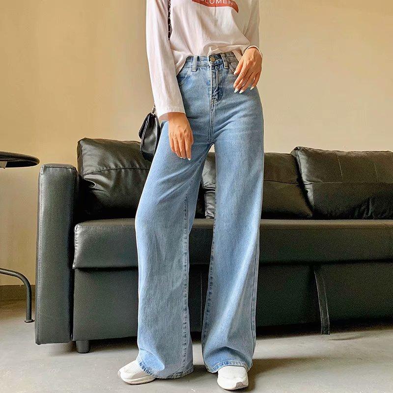 بنطلون جينز نسائي بقصة مستقيمة وخصر مرتفع ، بنطلون واسع الساق ، نمط ريترو ، لون خالص ، مجموعة الربيع والخريف الجديدة