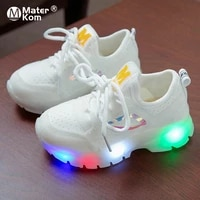 size 21 30 baby lightweight breathable sneakers boys led anti slippery glowing shoes girl wear resistant casual shoes with light