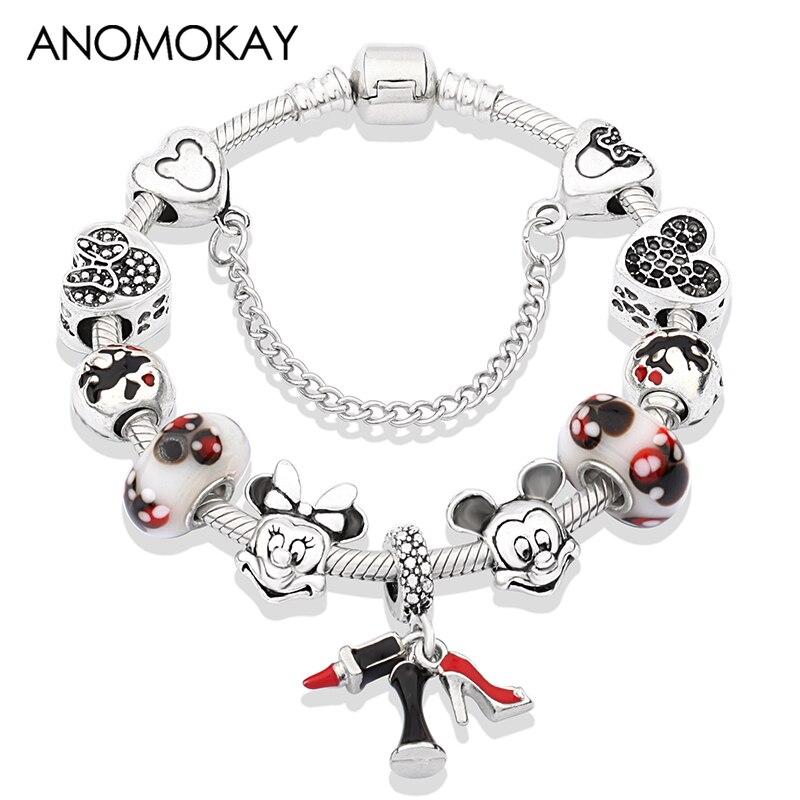 Pintalabios tacones altos princesa esmalte cuentas pulsera con encantos Color plata Mickey Minnie corazón pulsera para mujer chica