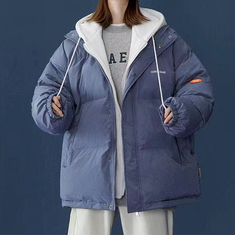 Толстая хлопковая одежда в Корейском стиле парная свободная модная поддельная двухкомпонентная комбинированная кофта с капюшоном мужская...