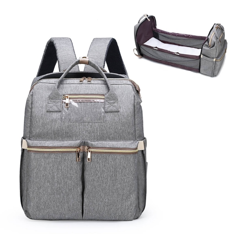 Baby Infant Nappy Changing Bag Portable Large Capacity Folding Crib Diaper Backpack Stroller Straps for Travel Outdoor