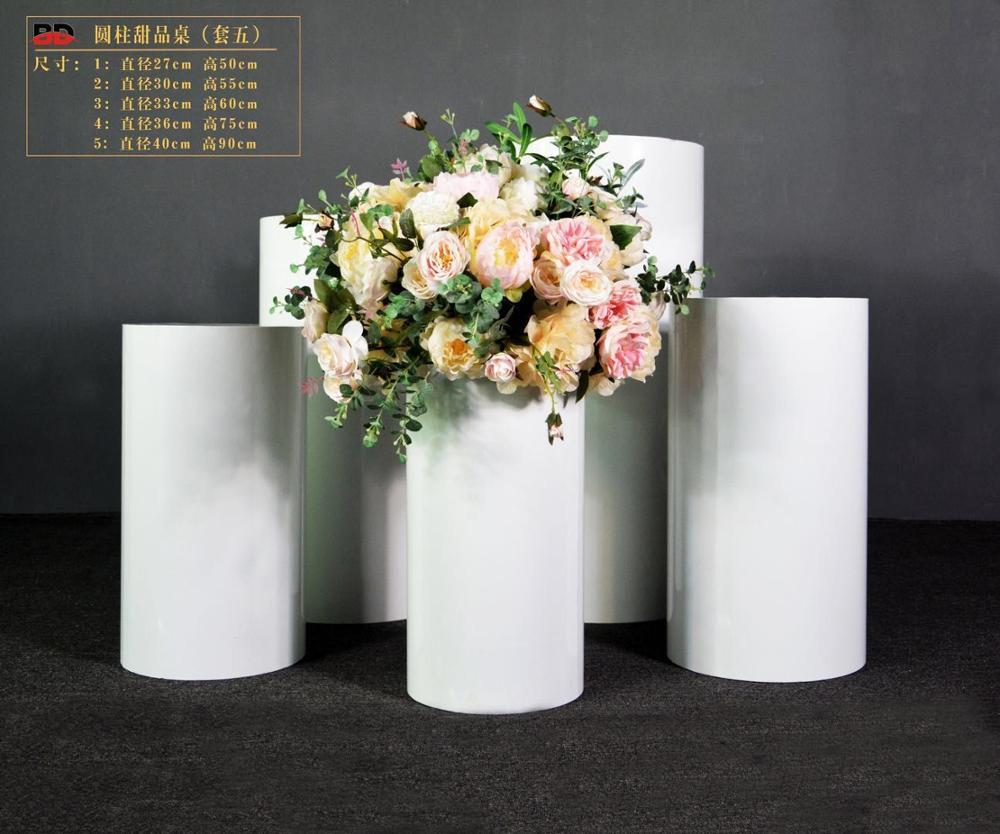 Nuevos productos, pantalla de pedestal de metal blanco, soporte de mesa cilíndrico, pantalla de Pedestal, decoración artística, pilar de boda