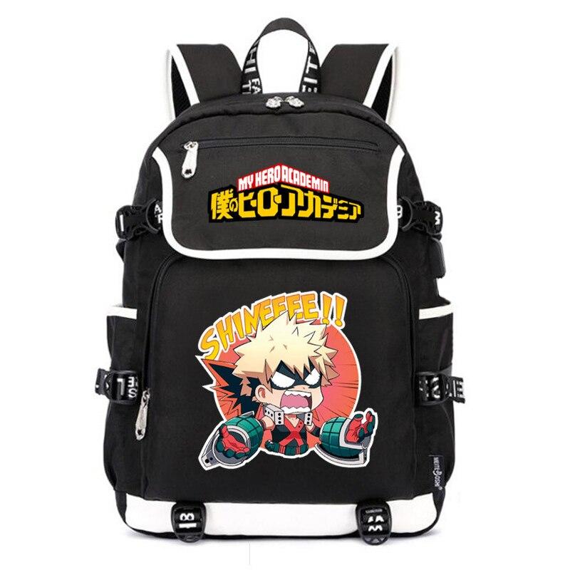 My Hero Academia-حقيبة ظهر مدرسية للسيدات ، حقيبة ظهر للكمبيوتر المحمول مع شحن USB ، حقيبة سفر أكسفورد