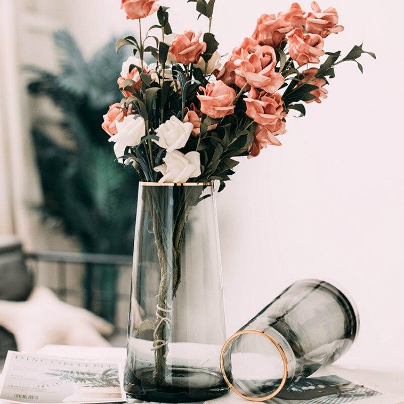 Jarrones de Cristal estilo europeo de lujo, mesa de oficina, floreros modernos,...