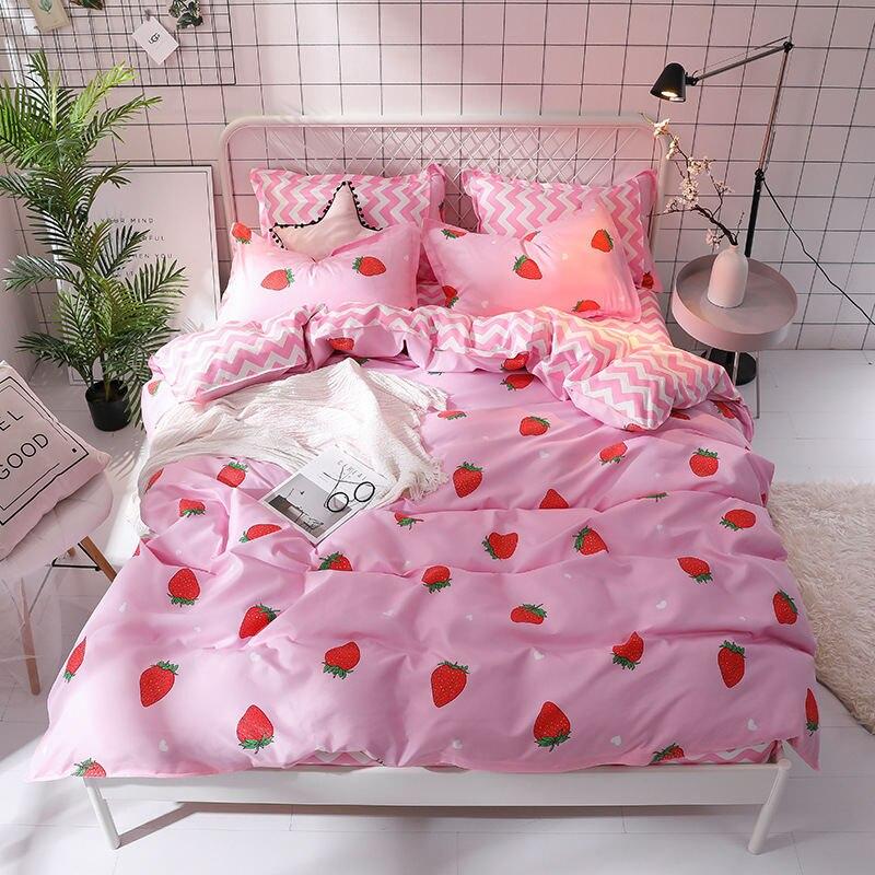 Juego de cama de Color sólido con estampado de frutas y fresas, funda de edredón para adulto y niño, Sábana, funda de almohada, edredón, juego de cama 61003