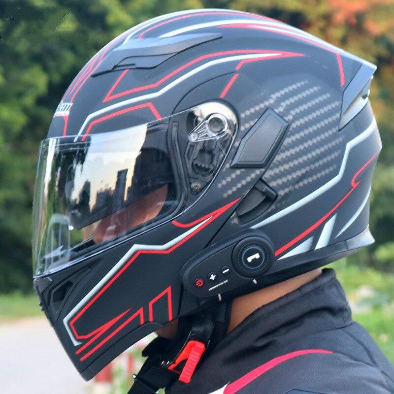 دراجة نارية كهربائية خوذة بلوتوث عدسة مزدوجة مفتوحة خوذة خوذة لكامل الوجه دراجة نارية خوذة يحتوي على سماعة رأس بخاصية البلوتوث