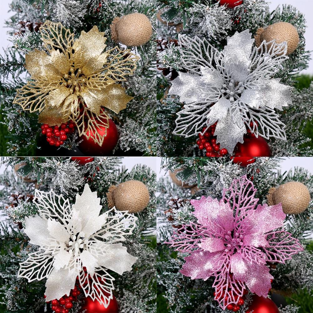 5 шт. 9/12/15 см, блестящие Искусственные Рождественские цветы, украшения для рождественской елки, рождественские украшения для дома, новогодни...
