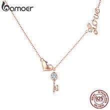 BAMOER romantique 925 en argent Sterling clé serrure à coeur pendentif colliers femmes couleur or collier en argent Sterling bijoux SCN292