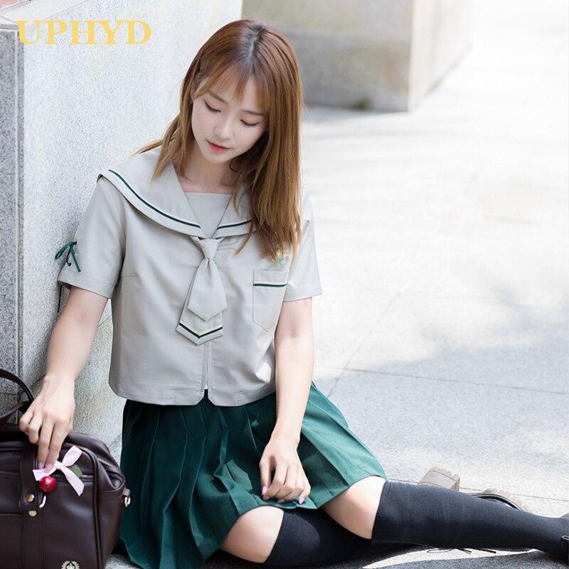 Uphyd japonês marinheiro uniforme escolar feminino cosplay roupas da menina da escola camisa branca verde saia plissada ternos de marinheiro