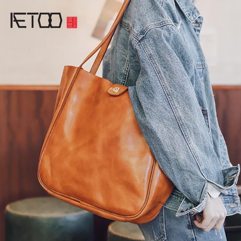 AETOO-حقائب جلدية يدوية عتيقة للرجال ، حقائب جلدية للرجال ، حقائب كتف واحدة من جلد البقر