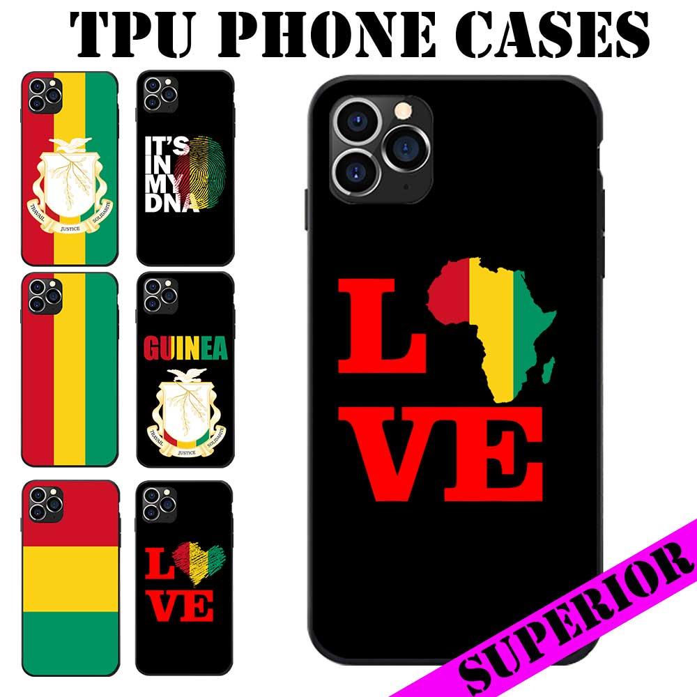 2020 Bandera de Guinea Escudo de Armas tema suave TPU teléfono casos para iPhone 5 6 7 8 S XR X Plus 11 Pro Max SE