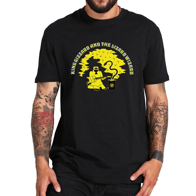 Talla de la UE 100% algodón camiseta King Gizzard y The Lizard Wizard Rock Band Flying Microtonal Banana Camiseta cuello redondo suave Tops