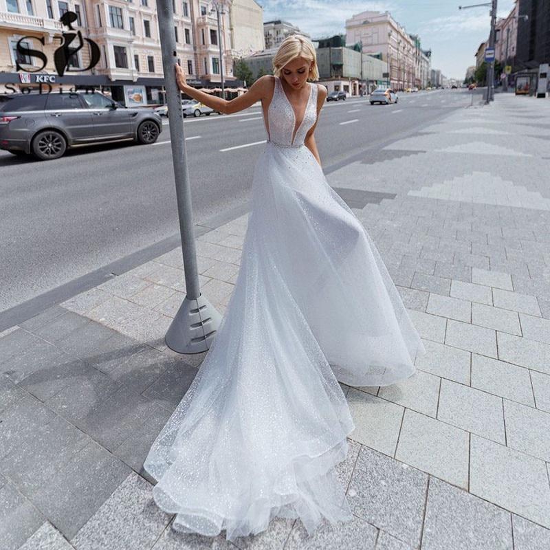 SoDigne شاطئ فستان الزفاف 2021 مثير عارية الذراعين الخامس الرقبة الخرز بريق لامع تول فستان الزفاف ثوب زفاف حجم كبير